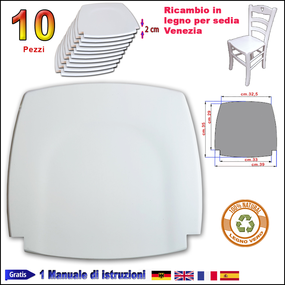 Ricambi Per Sedie In Legno.Sedute Per Sedie In Legno Bianco 10 Sedile Per Sedia Venezia