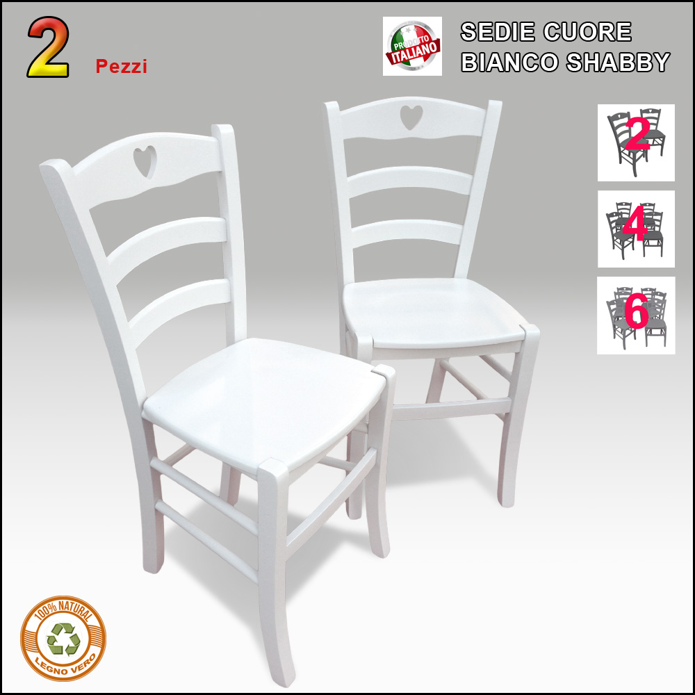 Sedie Bianche Shabby.Sedie Country 2 Sedie In Legno Bianche Stile Shabby Chic