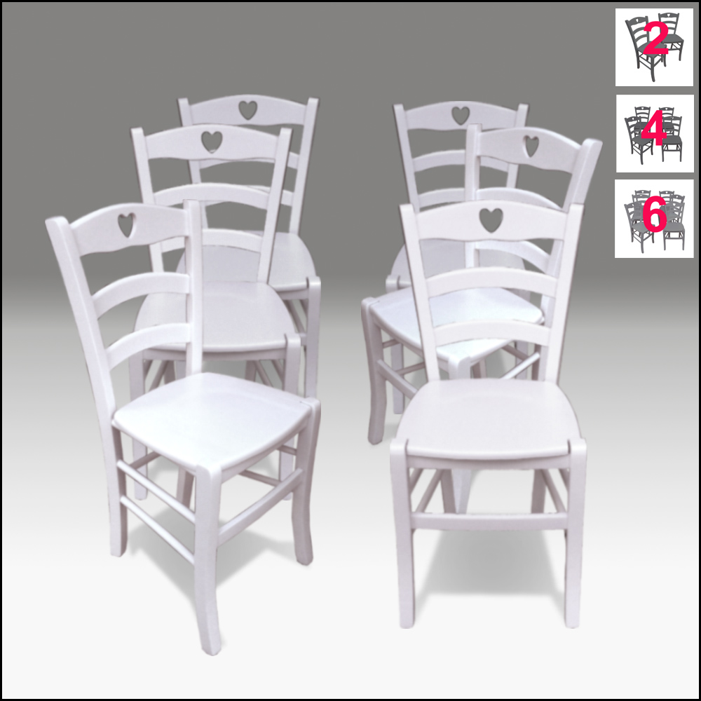 Sedie Stile Shabby Chic.Sedie Country 6 Sedie In Legno Bianche Stile Shabby Chic Mod